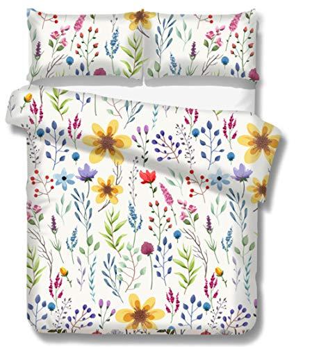 Fundas Nordicas Flores Multicolores 200 x 200Cm,Microfibra Funda De Edredón con Cierre,Juego De Ropa De Cama con 2 Fundas De Almohada