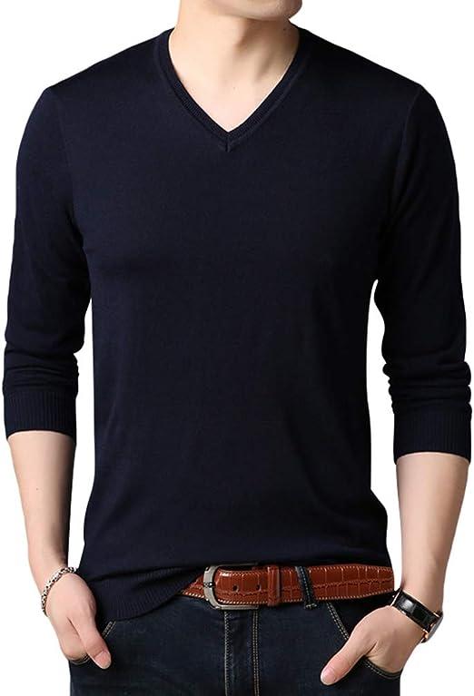 Yuanu Hombre Oto/ño Color S/ólido Negocios Casual Su/éter De Punto Manga Larga V-Cuello Slim Jersey Pullover