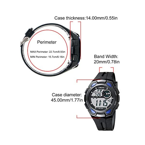 Men's Digital Sports Wrist Watch for Men, Large Face LED Backlight Screen Waterproof Stopwatch Alarm Casual Luminous Electronic Simple Watches