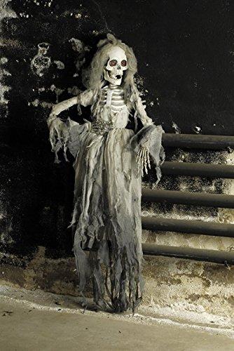 Das Kostümland Skelettbraut Halloween-Deko Weiss-grau 150cm Einheitsgröße