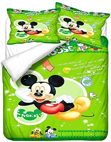 QWAS Mickey Minnie Mickey Mouse - Juego de ropa de cama de Disney con dibujos animados 3D, microfibra suave, 1 funda nórdica y 2 fundas de almohada (L7,220 x 240 cm + 80 x 80 cm x 2)