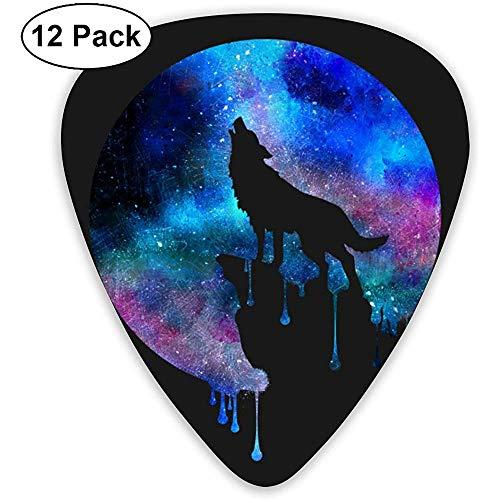 Paquete de 12 púas de guitarra Diseño colorido del lobo de la luna, para guitarras acústicas eléctricas bajas únicas de guitarra