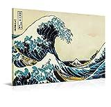 Cuadro La Gran Ola de Kanagawa - 150 x 100 cm - Decoración de Salón y Dormitorio - Lienzo 100% Poliéster y Bastidor de Madera - Impresión HD Multicolor - 150 x 100 cm, LEN-155