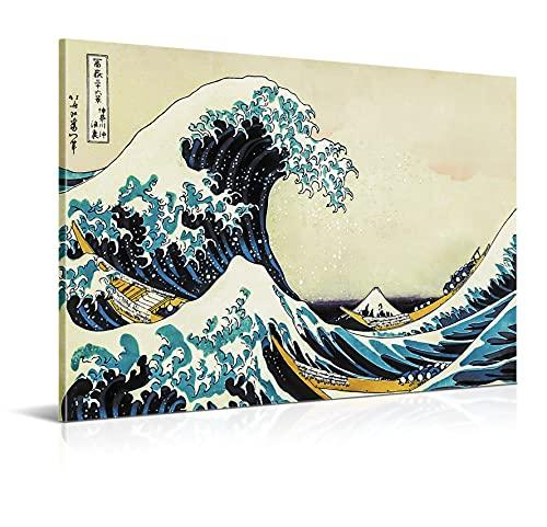 Cuadro La Gran Ola de Kanagawa - 100 x 70 cm - Decoración de Salón y Dormitorio - Lienzo 100% Poliéster y Bastidor de Madera - Impresión HD Multicolor - 100 x 70 cm, LEN-155