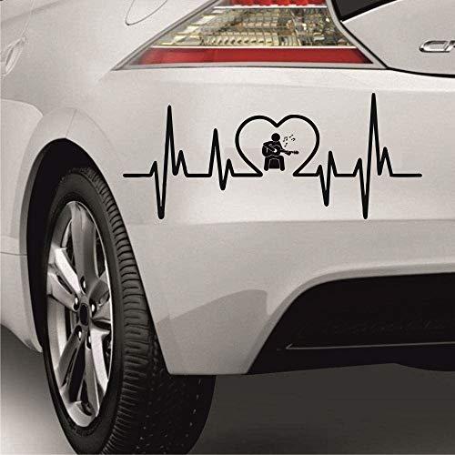 myrockshirt Herzschlagaufkleber Straßenmusiker Gitarre 30cm Heartbeat Herzschlag Lebenslinie Aufkleber Autoaufkleber Sticker Profi Qualität