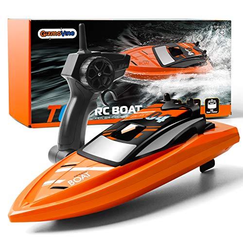 GizmoVine Barco Teledirigido RC Barco Alta Velocidad de 2.4 GHz ,1 Batería,Juguetes Electronico para Niño Niña Juegos en Bascula Baño y Piscina(Naranja)