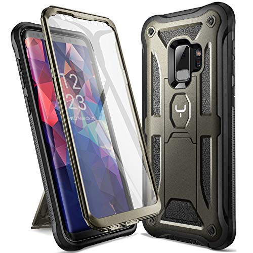 YOUMAKER Designed for Galaxy S9 Case, Heavy Duty Protection Kickstand with Built-in Screen Protector Shockproof Case Cover for Samsung Galaxy S9 5.8 inch - Gun