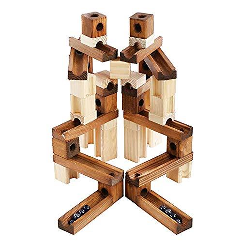 玉転がし ビーズコースター 木製 スロープ 60点セット 木のおもちゃ 積み木 ブロック 知育玩具6歳 立体パズル 男の子 女の子 入園祝い 誕生日 クリスマス 新年 ギフト 幼稚園 保育園 小学生 孫 プレゼント