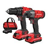 Craftsman CMCK200C2R 20V Variable Speed Lithium-Ion 1/2 in. Cordless Drill Driver and 1/4 in. Impact Driver Combo Kit (1.3 Ah) (Renewed)