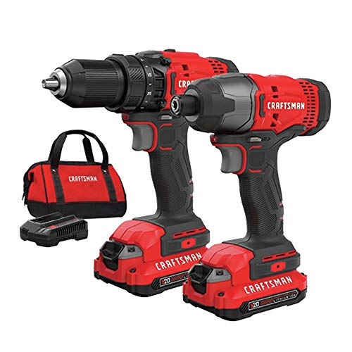 Craftsman CMCK200C2R 20V Variable Speed Lithium-Ion 1/2 in. Cordless Drill Driver /1/4 in. Impact Driver Combo Kit (1.3 Ah) (Renewed)