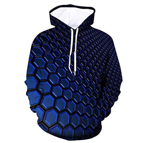 Xmiral Herren Slim Fit Hoodie Lange Ärmel Kapuzenpullover 3D Druck Farbig Sweatshirt Pullover Hooded Streetwear Hemden Strickwaren(j Blau,L)