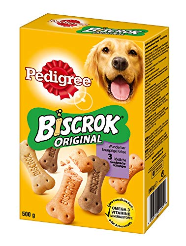 PEDIGREE Hundesnacks Hundeleckerli Biscrok in 3 Geschmacksrichtungen, 6 Packungen (6 x 500g), 3000 g