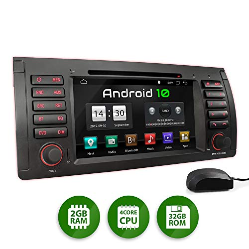 XOMAX XM-71BA Autoradio mit Android 10 passend für BMW E39 5er M5, E53 X5, 4Core, GPS Navigation, DVD, CD I Support: WiFi, 4G, DAB+, OBD2 I Bluetooth, 7 Zoll/18 cm Touchscreen, USB, SD