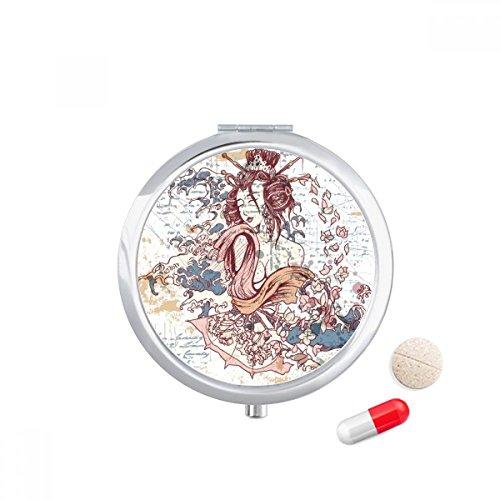 DIYthinker Geisha Kimono Fan Japan Golven Travel Pocket Pill case Medicine Drug Storage Box Dispenser Spiegel Gift