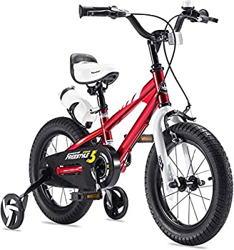 RoyalBaby Boys Girls Kids Bike 16 Inch BMX Freestyle 2 Hand Brakes Bicycles with Training Wheels Kickstand Child Bicycle Red
