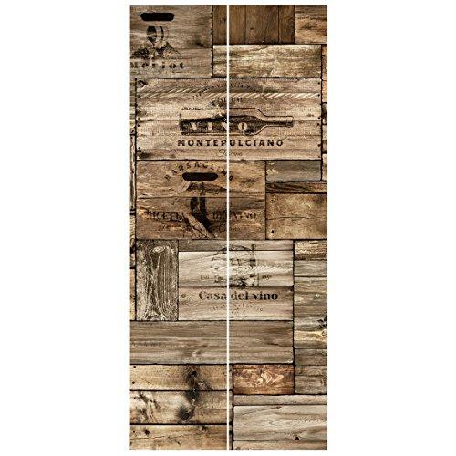 Bilderwelten Vliestapete Tür - Vintage Holzkisten - Türtapete Fototapete Türdeko Motivtapete Wanddesign Designtapete Größe HxB: 215cm x 96cm