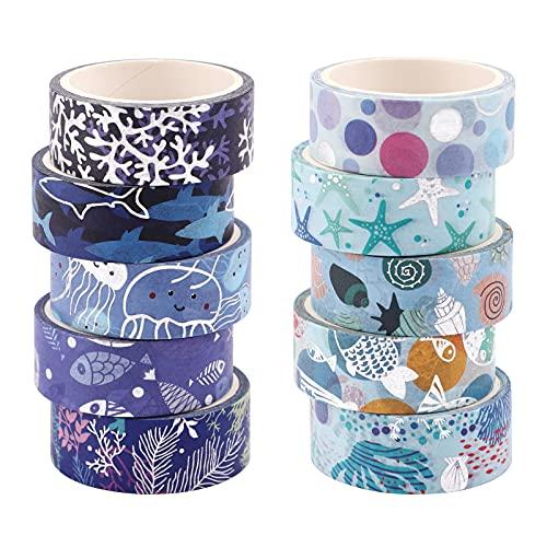 Washi Tapes,10 rollos Cinta Adhesiva Decorativa Washi Glitter Adhesivo de Cinta Decorativa Washi Tape Vintage Fina Cinta para álbumes de Recortes para álbumes de recortes (4 mx 15 mm/rollo)