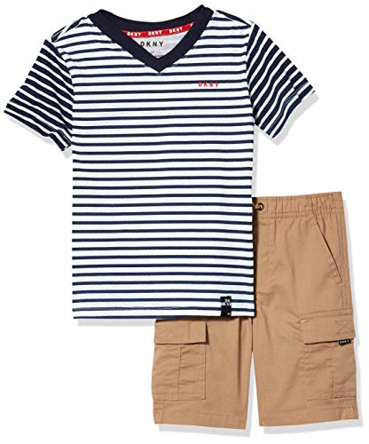 DKNY Boys' Shorts Set, 2 Tone stripe khaki, 6