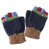 Baby Warme Handschuhe, Kinder Strickten Handschuhe, Kinder Handschuhe Fingerlose Fäustling Winter für Jungen Mädchen Gestrickte Fäustlinge mit Flip Top Warme Handschuhe, 6-10 Jahre alt