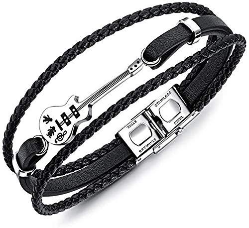 LYTIVAGEN Leder geflochten Armband Herren Gitarre Lederarmband Vintage Multilayer Leder Armband Gitarrenarmband Magnetschnalle Armband Leder Hand Weben Armband für Herren Geschenk, Schwarz