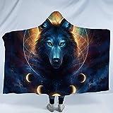 Dream Catcher by JoJoesArt Lunar Wolf Sherpa Hooded Blanket Celestial Space Fleece Throw Blanket Fantasy Animal Blanket with Hood (Adults 60'x 80')