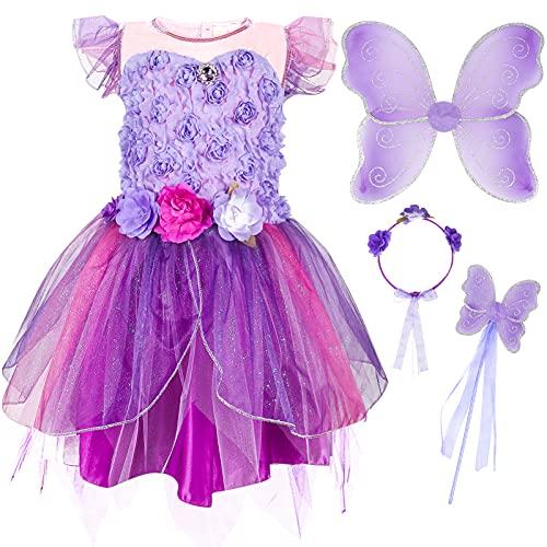 Tacobear 4 Pezzi Costume Fata Bambina con Vestito Principessa Ali Fata Bacchetta Cerchietto Fiori Fatina Farfalla Costume Principessa Festa Compleanno per Bambini (Viola, 130)