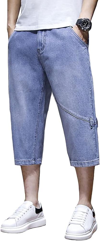 HAORUN Men 3/4 Length Denim Shorts Regular Fit Plus Size Summer Casual Short Jeans