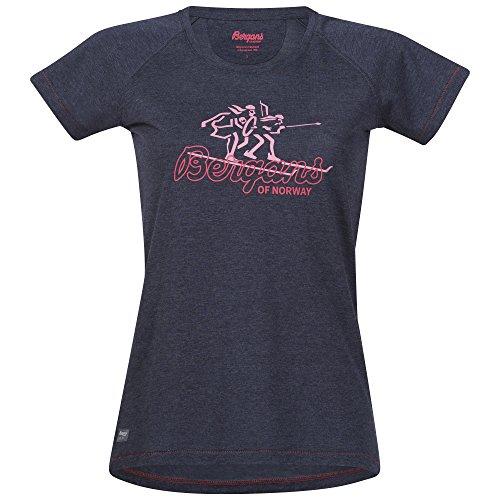 Bergans Tee Femme, Navy Melange/Pale Red/Pale Coral Modèle XS 2020 T-Shirt Manches Courtes