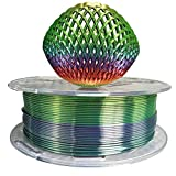 Silk Rainbow PLA Filament 1.75mm 3D Printer Filament 1KG 2.2LB Shiny Silky Shine 3D Printing Materials Shiny Silk Multicolor Rainbow PLA Filament 1.75mm Metallic Gradient 3D Printing Filament HZST3D