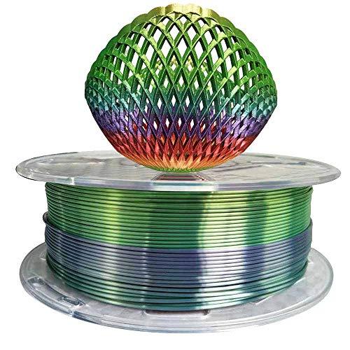 Silk Rainbow PLA Filament 1.75mm 3D Printer Filament 1KG 2.2LB Shiny Silky Shine 3D Printing Materials Shiny Silk Multicolor Rainbow PLA Filament 1.75mm Metallic Gradient 3D Printing Filament HZST3D