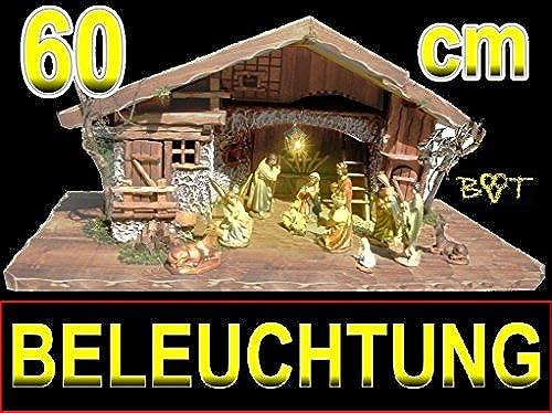 BTV Exklusive Weißachtskrippe mit Zubeh  Ausfürung  massiv Vollholz Massivholz mit Krippenfiguren in Echtholz-Optik, Krippe mit Figuren und Beleuchtung LICHT KOMPLETT MIT BELEUCHTUNGSSET K60MFTL
