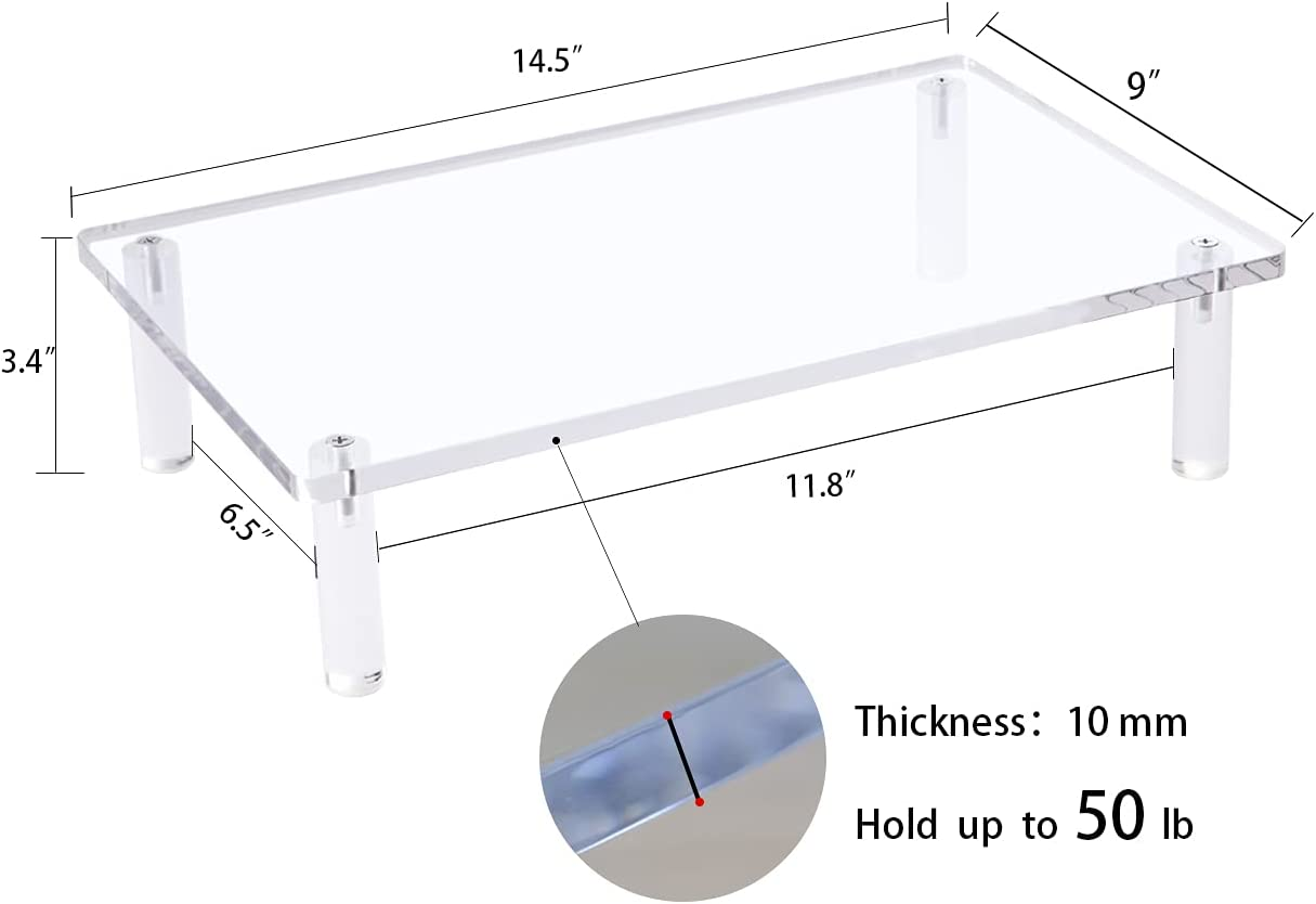 Sumerflos Acrylic Monitor Desk Stand, 0.4 Inch Thickness Sturdy Platform Computer Laptop Monitor Riser Stand, Clear Stylish Home Office Desktop Universal Stand with Anti-Slip Pads, Save Space