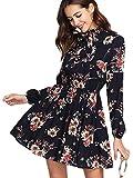 DIDK Damen Kleid Elegant Langarm Blumen Kleider Kurz Knielang Partykleid Casual für Herbst Frühling, S, Schwarz mit Blumen1-1