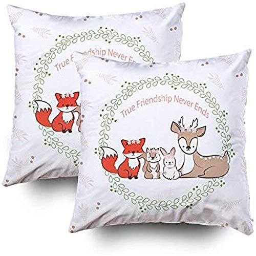 Sonder-Shop Easter Home Kissenbezug Kissenbezüge Best Friends Cute Rabbit Fox Eichhörnchen Deer In Blattzeichnung Schlafsofa COR, Pfirsichgrün