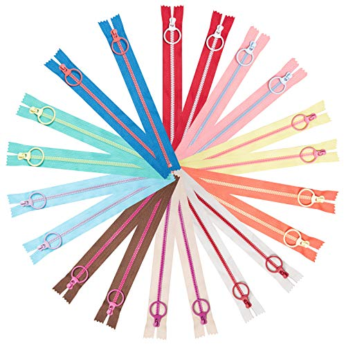 Cremalleras de Colores, XiYee 20 piezas 20cm Cremalleras de Costura, Cremalleras de Resina con Anillo de Metal para Sastre Costura Manualidades Bolsa Ropa