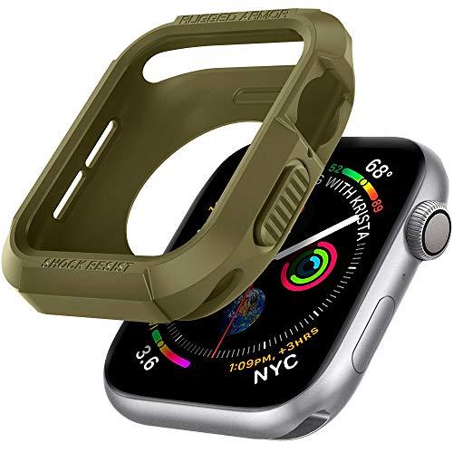 Spigen Rugged Armor Kompatibel mit Apple Watch Hülle für 44mm Serie 6/SE/5/4 - Olivgrün