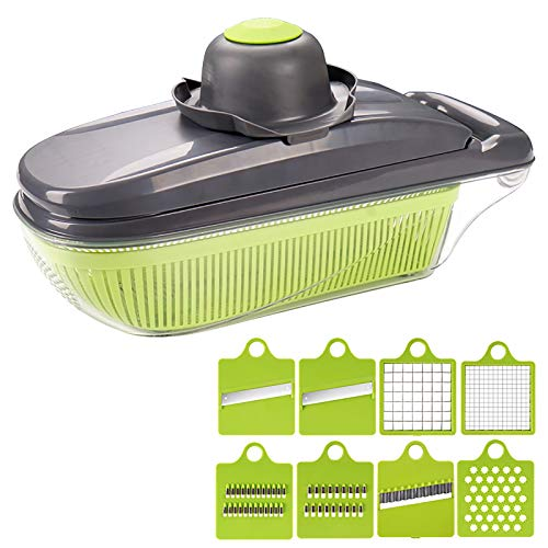 Vegetable Spiralizer Potato Cutter Kitchen Stuff for Food Prep,Vegetable Chopper For Onion Chopper Dicer,Mandoline Slicer Food Chopper with Hand Guard and Clean Brush-Green 32x12x12cm(13x5x5inch)