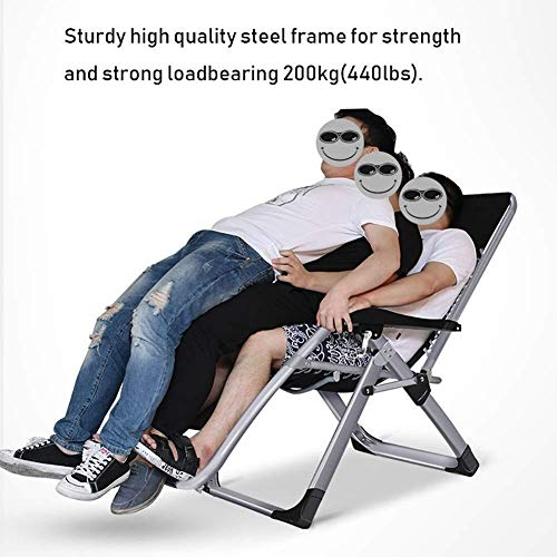 DQCHAIR Zero Gravity Chairs Oversized Zero Gravity Chair for Heavy Duty People, Extra Wide Patio Recliner Sun Lounger for Beach Sunbathing, Support 440lbs (Color : Silver)