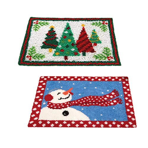LoveinDIY 2 Sets Latch Hook Rug Kits DIY Tapestry Carpet Rug Making for Kids Adults Beginners 50x36cm - Christmas Tree & Snowman