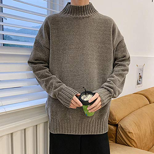 JFHGNJ Heren Coltrui Winter Mode Gebreide Coltrui Heren Winter Coltrui Man Pullover-Groene koffie_XXXL