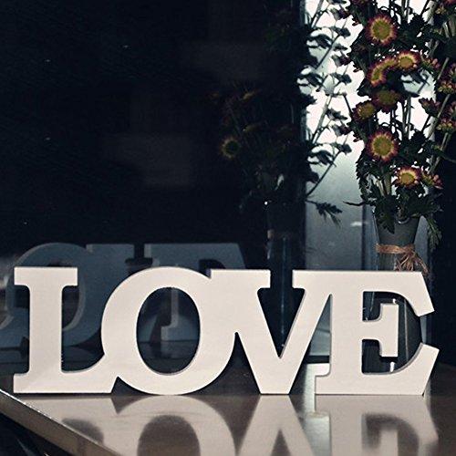 """Letras de madera""""Love"""" decoraciones, madera novia boda independiente natural vintage amor carta decoración de mesa blanco"""