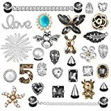 30 PCS Croc Shoe Charms Fits Clog Sandals Decoration Fashion Crystal Diamond Pearl Charms for Kids Girls Women Mack-up Party Favors Birthday Gifts (color1)