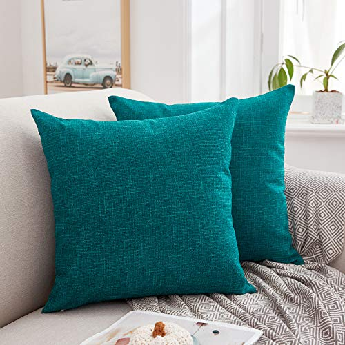 MERNETTE Pack of 2, Linen Decorative Square Throw Pillow Cover Cushion Covers Pillowcase, Home Decor Decorations For Sofa Couch Bed Chair 18x18 Inch/45x45 cm (Peacock)