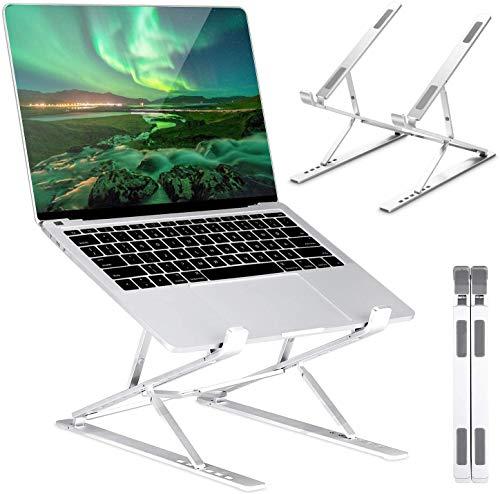 ICETEK Elevador Ordenador Portatil Soporte Portatil Mesa Laptop Stand de Aluminio Ajustable para Mac MacBook Air Pro, Tableta iPad, Lenovo, HP, DELL de 10 a 17.3 Pulgadas