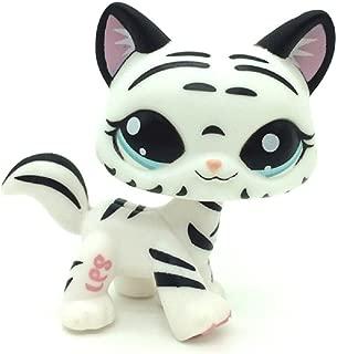 DZH Mini Pet Shop Tiger Cat Kitty White Striped with Aqua Blue Eyes #1498