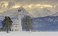 NC88 ドイツのバイエルン州の冬の雪景色番号によるDIY5Dダイヤモンド絵画ユニークなキット家の壁の装飾クリスタルラインストーンの壁の装飾クロスステッチ12x16インチ(フレームレス)