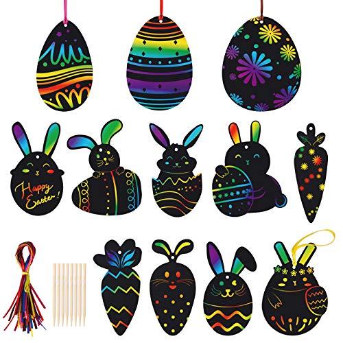 Kesote Kratzbilder Ostern 36x Kratzpapier Regenbogen Kinder mit 24 Kratzstifte zum Basteln DIY Zeichnen Malen Osterei Osterhase Karotte (12 Motive)