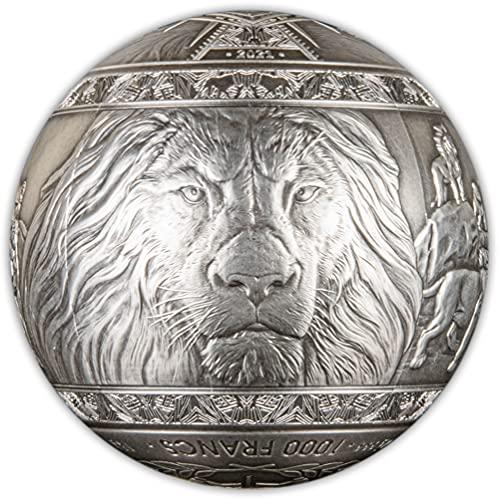 Power Coin Big Five Lion León Esférico 1 Kg Kilo Moneda Plata 1000 Francs Djibouti 2021