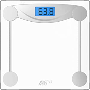 Active Era Digital Body Weight Scale - Ultra Slim High Precision Bathroom Scale with Tempered Glass, Step-on Technology and Backlit Display - Body Weighing Scale 180kg / 400lb (lbs/Stone/kgs)