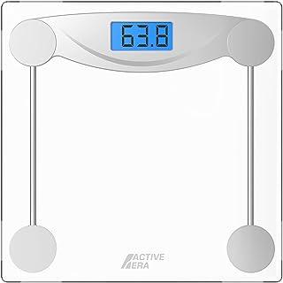 مقیاس وزن بدن دیجیتال Active Era - مقیاس حمام فوق العاده باریک با دقت بالا با شیشه معتدل ، فناوری مرحله ای و صفحه نمایش با نور پس زمینه - مقیاس وزن بدن 180 کیلوگرم / 400 پوند (پوند / سنگ / کیلوگرم)